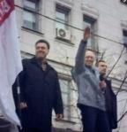 Demokraten Tjagnibok, Nulands Wunschkandidat Jazenjuk mit Hitlergruß, Klitschko – Maidan Kiew